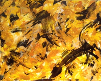 MERGING CROW ENERGY Original Acrylic 30 x 24 inches by Doris anderson (c) copyrighted 2016